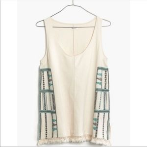 NEW Madewell | Embroidered Fringe Tank Top